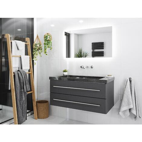 Damo avec vasque en granit Galaxy Black 100cm sans pré-perçage & miroir à LED