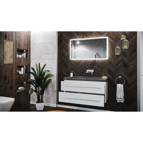 Damo avec vasque en granit India Black 100cm sans pré-perçage & miroir à LED