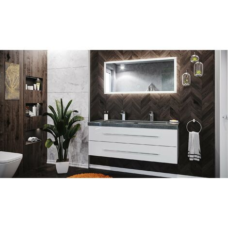 Damo blanc brillant avec double vasque en granit G654, 130cm & miroir à LED