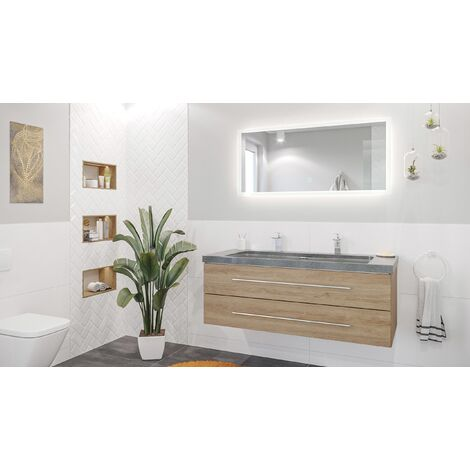 Damo décor chêne avec double vasque en granit G654, 130cm & miroir à LED
