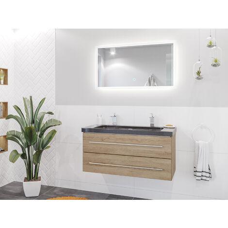 Damo décor chêne avec double vasque en granit India Black 100cm & miroir à LED
