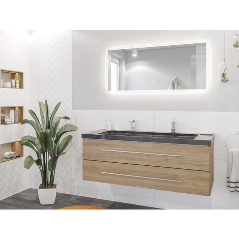 Damo décor chêne avec double vasque en granit India Black 130cm & miroir à LED