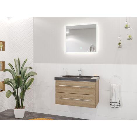 Damo décor chêne avec simple vasque en granit India Black 75cm & miroir à LED