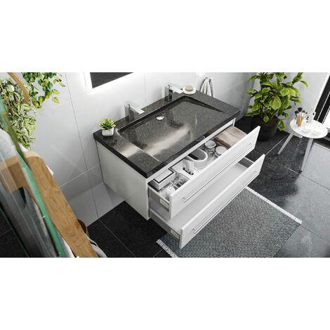 Damo en blanc avec double vasque en granit Galaxy Black 100cm & miroir à LED
