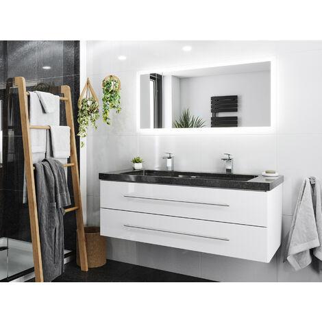 Damo en blanc avec double vasque en granit Galaxy Black 130cm & miroir à LED