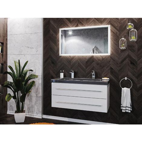 Damo en blanc avec double vasque en granit India Black 100cm & miroir à LED