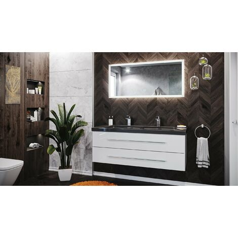 Damo en blanc avec double vasque en granit India Black 130cm et miroir à LED