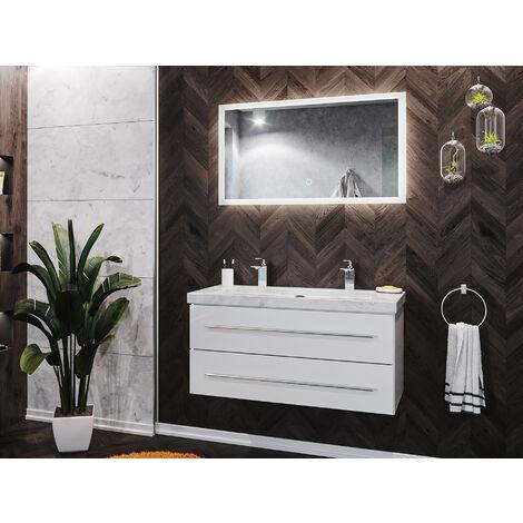 Damo en blanc avec double vasque en marbre Carrara White 100cm & miroir à LED