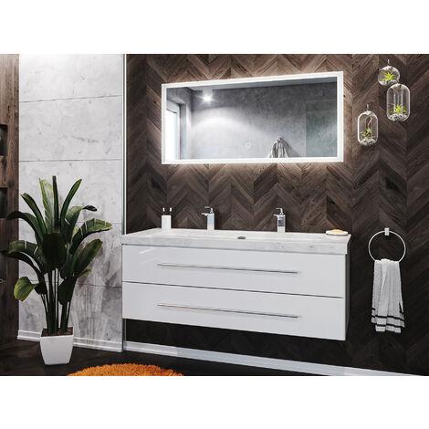 Damo en blanc avec double vasque en marbre Carrara White 130cm et miroir à LED