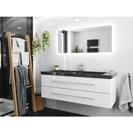 Damo en blanc avec simple vasque en granit Galaxy Black 130cm & miroir à LED