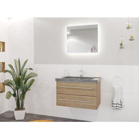 Damo en décor chêne avec simple vasque en granit G654 75cm & miroir à LED