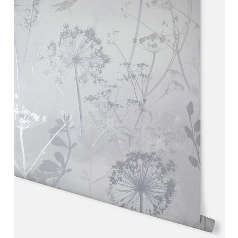 Damselfly Silver Wallpaper - Arthouse - 692406