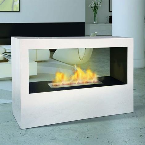 Danae de Purline® une cheminée bioéthanol de sol du type paroi de séparation, chauffe immédiatement 3,5 Kw !