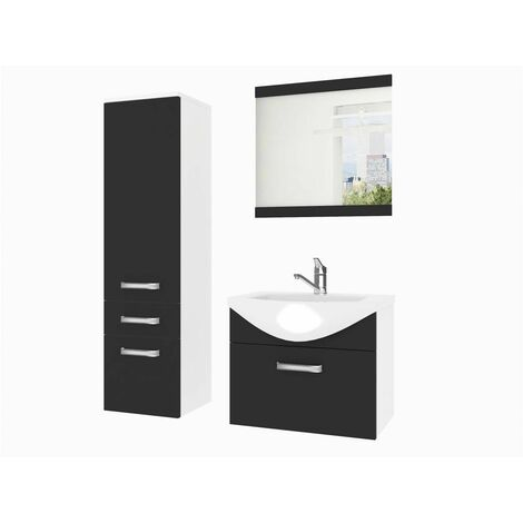 DANAE | Ensemble meubles salle de bain 4 pièces 50cm | Miroir + Lavabo + Meuble sous lavabo | Vasque céramique - Noir/Blanc