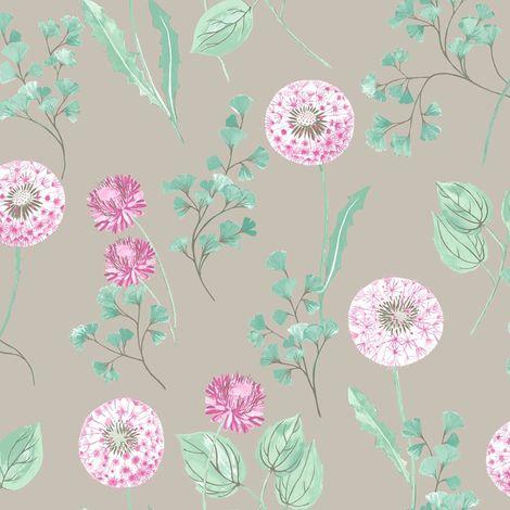 Dandelions Floral Wallpaper Silver Fuchsia Metallic Paste Wall Holden Cassara