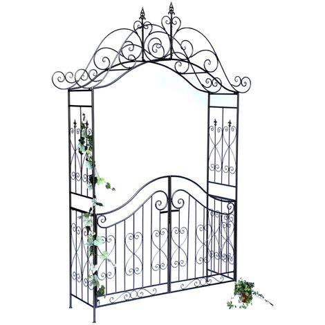 """main image of """"DanDiBo Arche à Rose avec Porte Portail 131872 en métal Portail de Jardin 282x160 cm Treillage"""""""