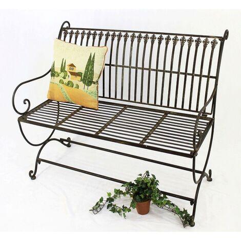 DanDiBo Banc Finca 063 2-Places en métal Banc de Jardin Banquette Banc de pourtour d'arbre 102cm Brun