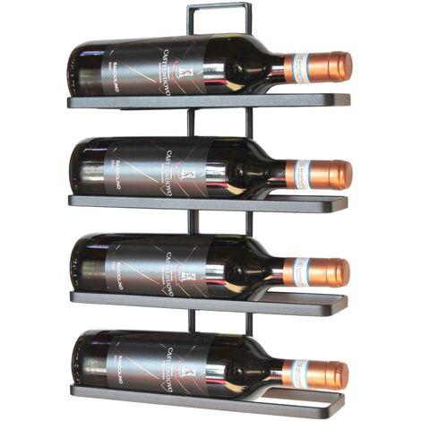 DanDiBo Etagère à vin en métal Noir pour Montage Mural 4-Wine 4 Bouteilles Extensible Support à Bouteilles Etagère à Bouteilles Porte-Bouteilles