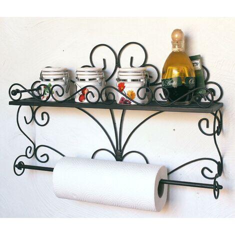 DanDiBo Etagère Murale Especias Console Murale 53cm Etagère de Cuisine en métal Etagère Salle de Bains Tablette Etagère à Herbes Porte-Rouleau essuie-Tout