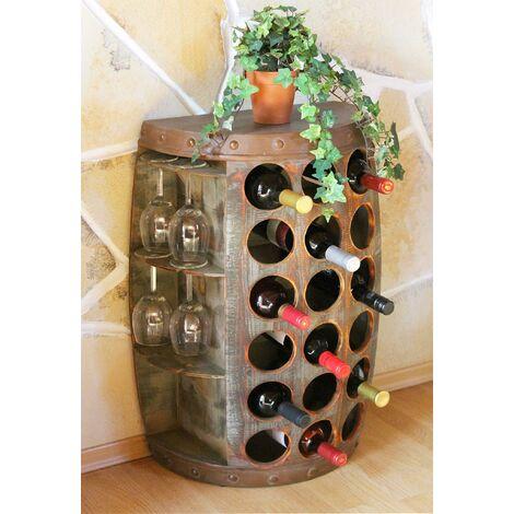 """main image of """"DanDiBo Scaffale-Vini Botte Vino 1468 Tavolinetto Armadio Botte in Legno 65cm BER-Vino Bar"""""""