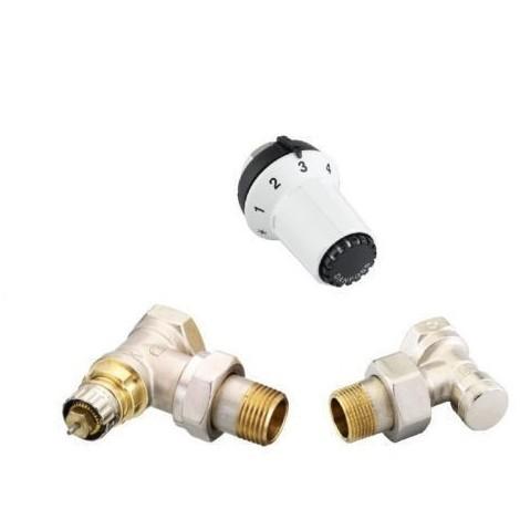 Danfoss Kit robinet thermostatique équerre coudé 1/2 avec tête thermostatique 013G5163