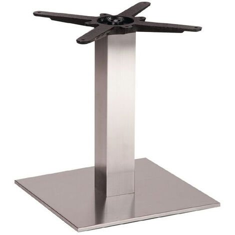 Daniella Brushed Steel Square Coffee, Kitchen, Dining and Poseur Height Table Base