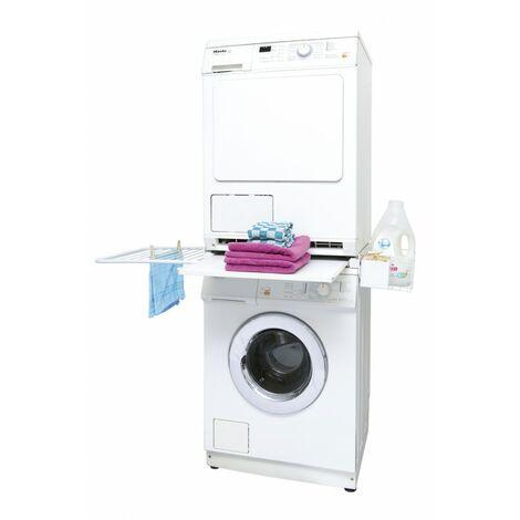 daniplus© Verbindungsrahmen für Waschmaschine / Trockner mit Ablage, Wäscheleine, Waschmittelkörbchen