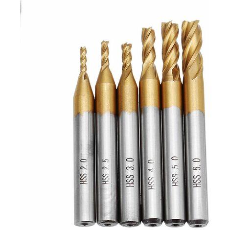 DANIU 6 pièces 2-6mm revêtement en titane 4 cannelures fraise en bout 6mm tige CNC foret ensemble outils de coupe