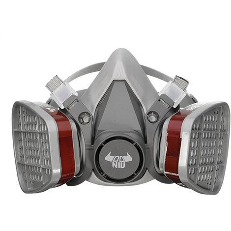 DANIU 6200 N95 Double filtre de protection de masque à gaz masque chimique demi-masque respiratoire gris