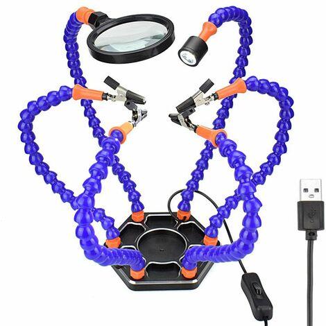 DANIU Six bras Support de fer à souder soudure PCB outil de montage aider les mains avec loupe Mini lampe de poche LED