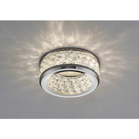 Dante GU10 Downlight with 3 Levels Of Crystal Beads polished chrome / transparent