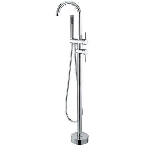 Dante miscelatore vasca a pavimento con doccia monogetto e duplex cromato