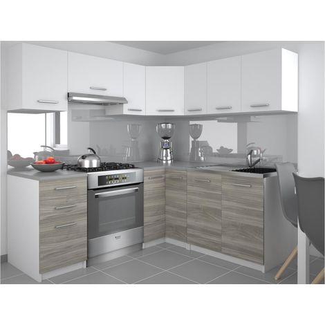 DARCIA - Cuisine Complète d'angle L 300 cm 9 pcs - Plan de travail INCLUS - Ensemble armoires cuisine - Blanc-Silver