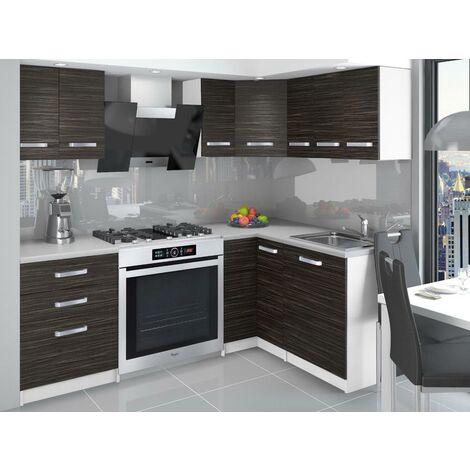 DARCIA   Cuisine Complète d'angle + Modulaire L 300 cm 8 pcs   Plan de travail INCLUS   Ensemble armoires modernes cuisine   Ébène