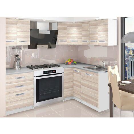 DARCIA | Cuisine Complète d'angle + Modulaire L 300 cm 8pcs | Plan de travail INCLUS | Ensemble armoires meubles cuisine | Acacia - Acacia