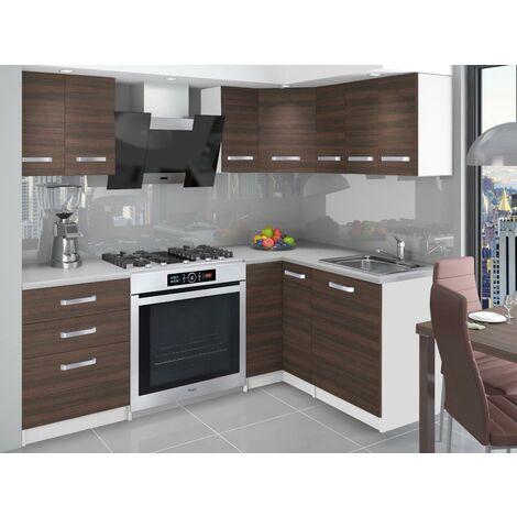 DARCIA | Cuisine Complète d'angle + Modulaire L 300 cm 8pcs | Plan de travail INCLUS | Ensemble armoires modernes cuisine - Châtaigne
