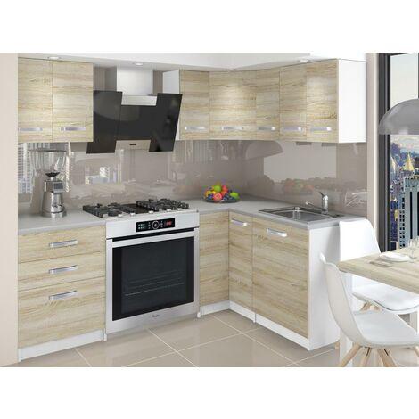 DARCIA   Cuisine Complète d'angle + Modulaire L 300 cm 8pcs   Plan de travail INCLUS   Ensemble armoires placards cuisine   Sonoma