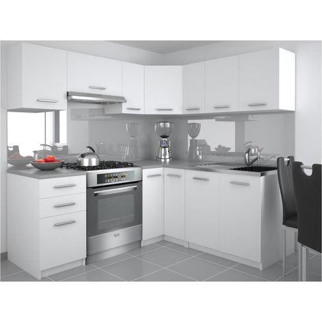 DARCIA   Cuisine Complète d'angle + Modulaire L 300 cm 9 pcs   Plan de travail INCLUS   Ensemble armoires de cuisine   Blanc