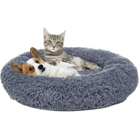 """main image of """"Dark Gray Plush Round Bed For Pets Basket Round Mate Nest Animal Nest Plush Thick For Cats And Dogs For Deep Sleep"""""""