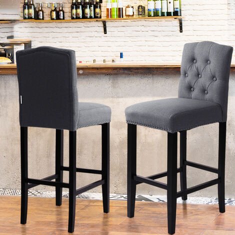 Dark Grey Breakfast Bar Stool Linen Fabric Chair Kitchen Dining Room Upholstered High Seat