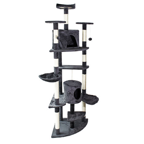 Dark-grey Corner Cat Tree Scratching Post Climbing Tree 200cm with Platforms, Caves and Hammocks