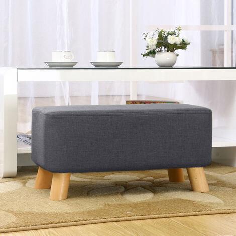 Dark Grey Fabric Soft Pouffe Padded Footstool Ottoman Upholstered Foot Stool Long Seat
