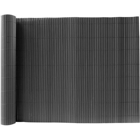 Dark Grey PVC Fence Screen Bamboo Mat Border Panel Garden Wall Privacy Protect,1.5x5M