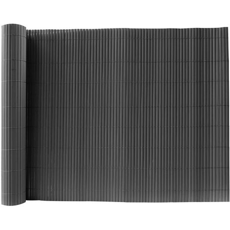 Dark Grey PVC Fence Screen Bamboo Mat Border Panel Garden Wall Privacy Protect,1.8x3M