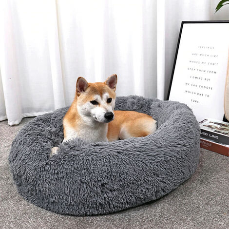 Dark Grey Round Cat Dog Cushion Faux Fur Fluffy Shaggy Sheepskin Pet Bed