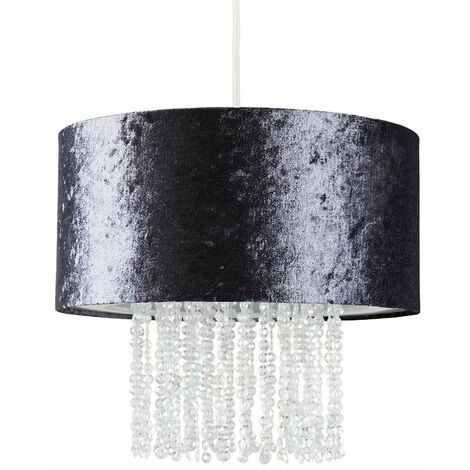 Dark Grey Velvet Ceiling Pendant Light Shade With Clear Acrylic Droplets