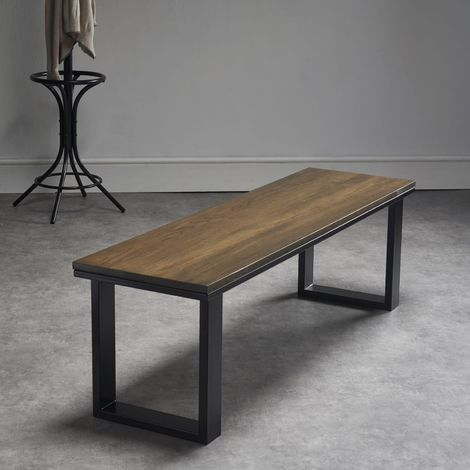 Dark Oak Bench O Design Legs L 140cm x W 40cm x H 45cm