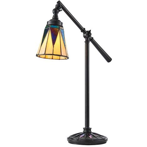 Dark Tiffany Style Star Task Table Lamp 40W Black Polyresin