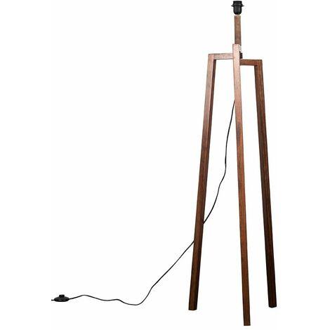 Dark Wooden Tripod Style Step Floor Lamp Base - Brown