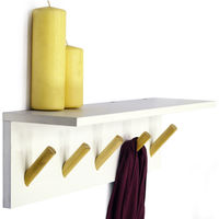 DARWIN - Floating 2ft / 60cm Wall Shelf with 5 Coat Hooks / Bathroom Storage - White / Natural